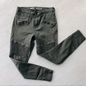 High Rise Army Green Skinny Jeans